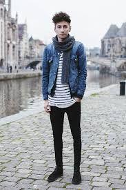 guys hipster street style - skinny jeans, jean jacket, bundled ...
