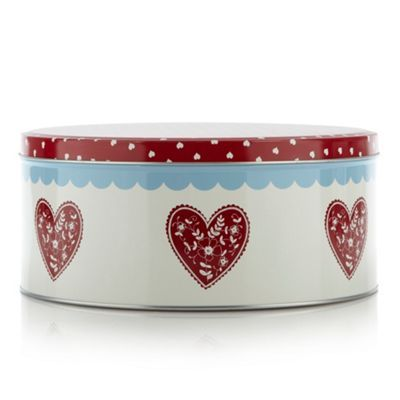 At home with Ashley Thomas Metal red heart cake tin- at Debenhams.com