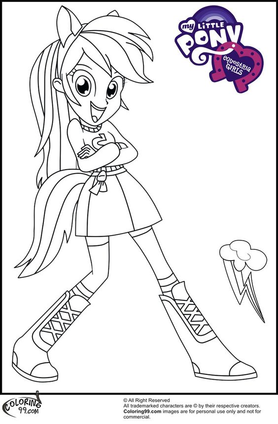 Mlp Equestria Girls Coloring Pages For Kids Pinterest Rainbow Dash Equestria Coloring Pages Printable