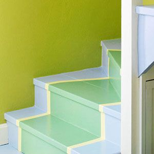 Might as well make basement stairs cheery. :) Via Family Circle.