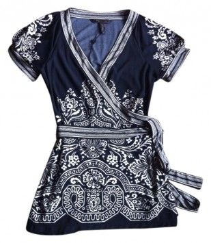 Think Warm Weather.   BCBG Max Azria And Soft Tunic Tie Belt Figure Flattering And Top Black With Creamy White $36 with FREE SHIPPING