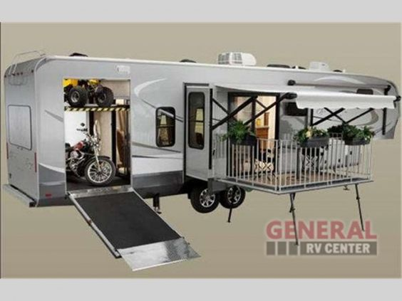 Open range fifth wheel toy haulers and floor plans on for Rv with balcony