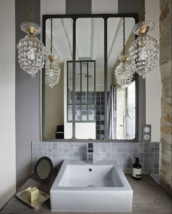 Industrial style and backdrops on pinterest for Lle de bain