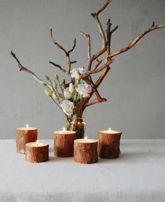 Pine Branches Candle Holders Set Of 5, Wooden Tealight Holders, Rustic Home Decor, Wood Candles, Rustic Wedding Decor, Centerpiece by ZwoodZ on Etsy
