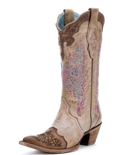 corral brown with pink and lace boots a