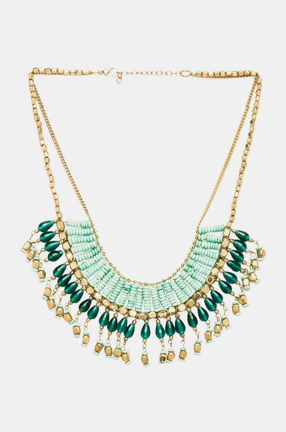 Raga Bead Drop Necklace in Aqua