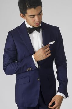 Pics For > Navy Suit Black Bow Tie | Groomsmen suits | Pinterest