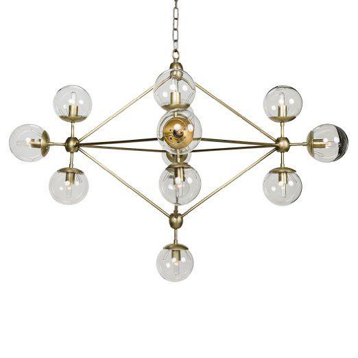 Orion Modern Antique Brass Metal Constellation Orb Chandelier