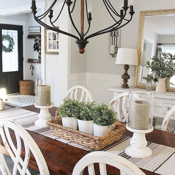 32 Farmhouse Dining Room Ideas That Are Simply Charming Molitsy Blog Dining Room Table Centerpieces Dining Room Centerpiece Farmhouse Dining Rooms Decor