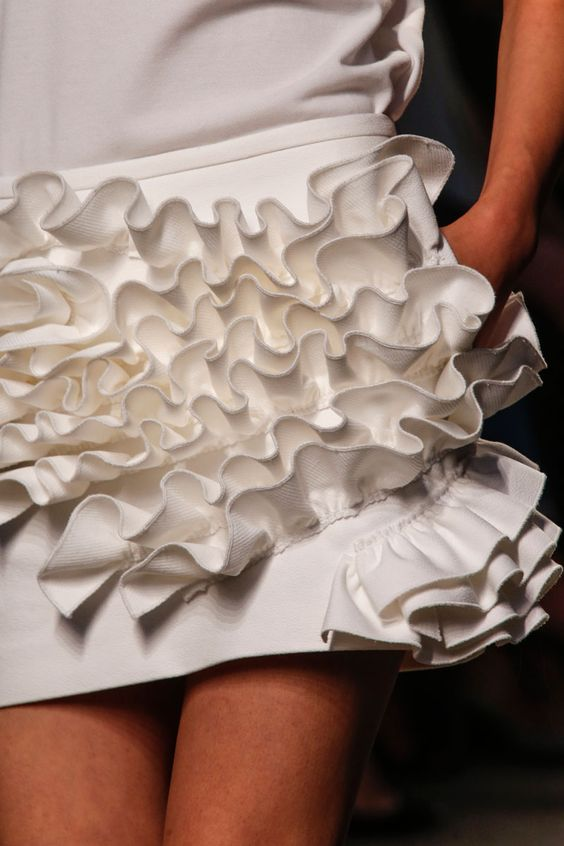 Fabric Manipulation for Fashion - 3D ruffles, mini skirt with raised ruffled fabric surface texture detail; creative sewing