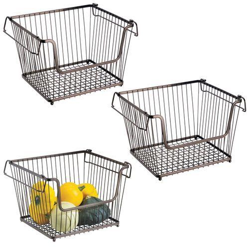 Large Stacking Metal Kitchen Pantry Storage Basket 10 7 X 12 5 X 8 5 Kitchen Basket Storage Kitchen Pantry Storage Airtight Food Storage