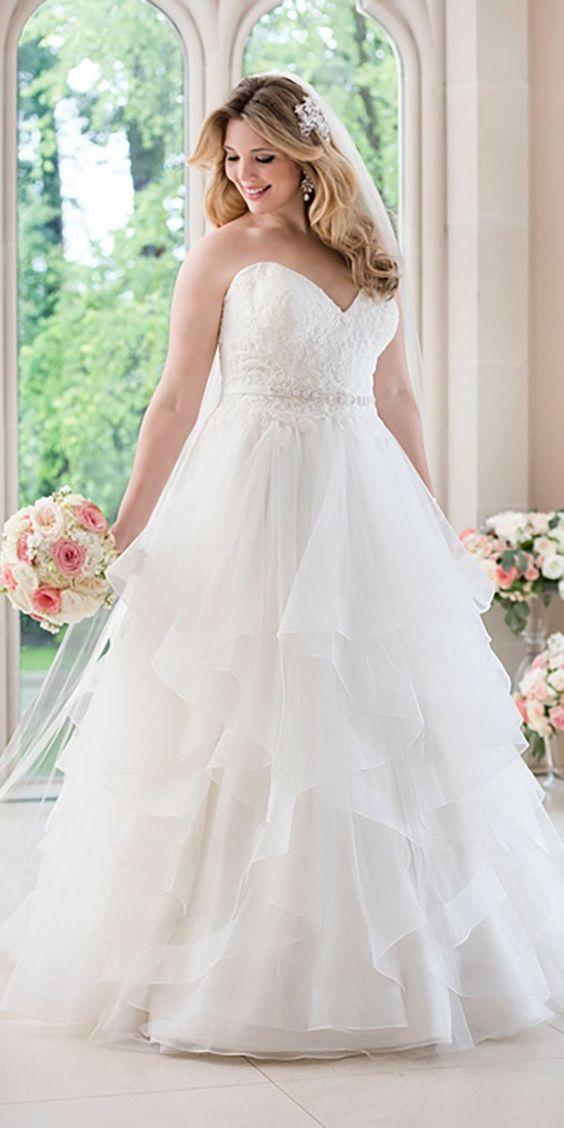 Stella York A-line Wedding Dress with Lace Bodice style 6330 plus size / http://www.deerpearlflowers.com/stella-york-fall-2016-wedding-dresses/2/