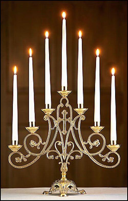 Candelabra Church Altar Ornate Chapel Candle Holder Brass