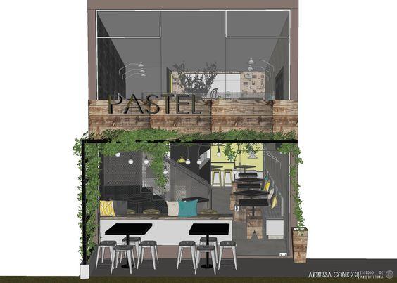 Bar Estilo Industrial | A fachada conta com um pergolado metálico coberto de vegetação, o que demarca a entrada do estabelecimento e ainda ajuda a proteger os clientes nas mesas externas da insolação direta.