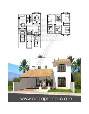 Casa de estilo mexicano de dos plantas y 3 rec maras for Planos y fachadas de casas pequenas de dos plantas