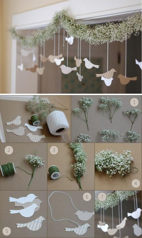 "Bird Flower Garland - Step-by-Step Tutorial. For me, I would omit the flowers,  and just string the birds from a neat ""wire somethin'"". [vm]:"