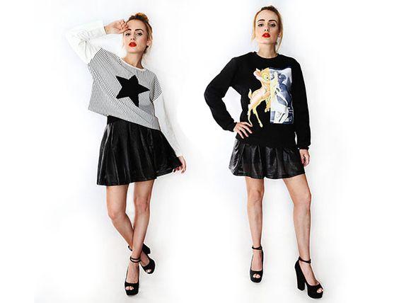 Oryginalne bluzy #mokujin #clothing #fashion #moda #black #white #fullprint #star #givenchy #bluza