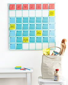 Sticky Note Calendar - great idea to not have to clean a dry erase board all the time.