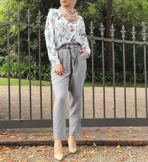 Grey dressy pants-Hijab fashion ideas for Easter – Just Trendy Girls