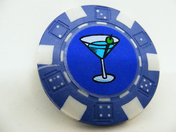 Blue Poker Chip With Martini Glass Fish Extender by AdamoGolf