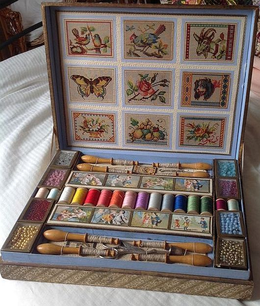 French Antique child's sewing presentation box.: