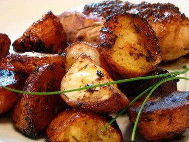 Balsamic Roasted Red Potatoes. This would be a perfect side dish to any grilled dish. Rosemary & thyme to add the zip of flavor is the winner for me!  Pinned via pinmarklet Thanks Kathy Meyers!
