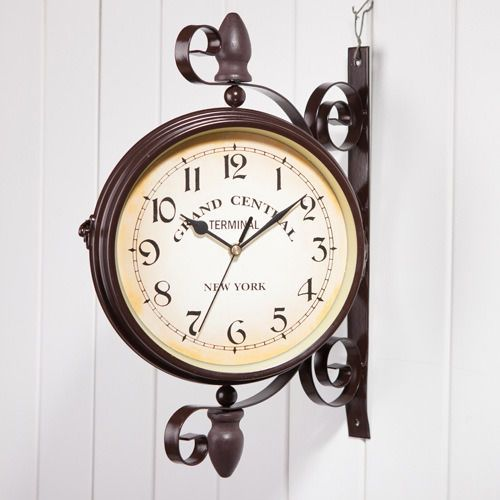 New Antique Wall Clock Outdoor Station Garden Hallway Double Sided Mount Clock In Home Garden Home Decor Clocks Ebay Hanging Clock Wall Clock Metal Clock