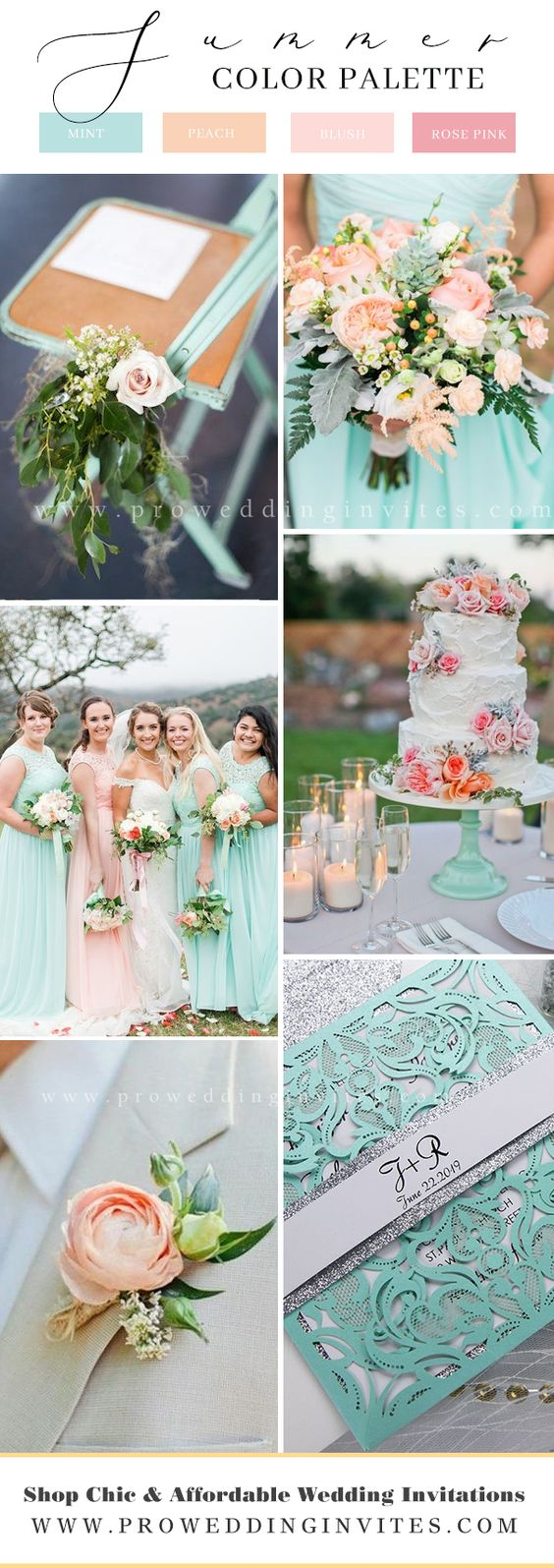 This bright and fun top of Tiffany is an eye catching delight. Perfect for a summer wedding with fresh and fun being the plan for the big day. Everything about this invitation is stunning. The combination of colors, the high quality paper and the glitter silver makes it one of a kind.