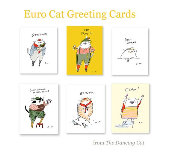 Euro Cat Cards Greeting Cards Set of 6 by jamieshelman on Etsy, $32.00