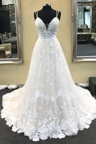 A Line Spaghetti Straps Lace Ivory V Neck High Quality Wedding