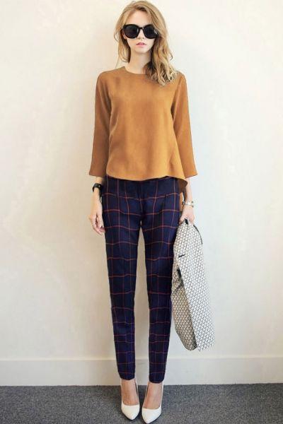 2pcs Mustard Tee Navy Pants Matching Sets