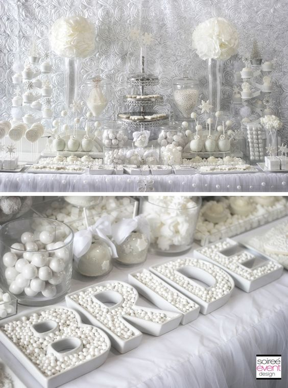 Winter White Bridal Shower Sweets Table by Soiree-EventDesign.com featuring this fabulous BRIDE letter dishes by TomKat Studio!