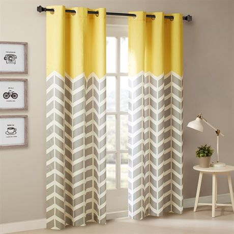 "Our Chevron Printed Panel Pair is the perfect update for some fun color and print. Top of the panel features solid bright yellow for a refreshing pop of color, combined with a grey and white chevron duo for a modern update. The panel is finished with foamback lining for room darkening features, added privacy, and energy saving abilities. Grommet top detail makes it easier to hang, open, and close panels throughout the day. Fits up to 1.25"" diameter rod."