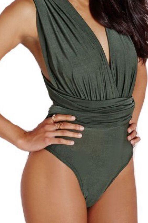 V-Neck Halter Playsuit/Swimwear