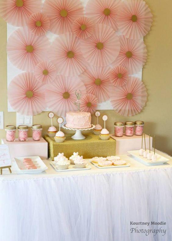 Mesa decorada da festa da bailarina: