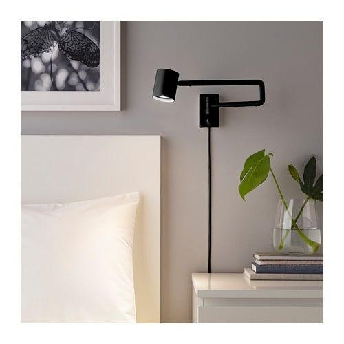 Nymane Wall Lamp With Swing Arm Led Bulb Anthracite Wall Lamp Wall Lamps Bedroom Swing Arm Wall Lamps