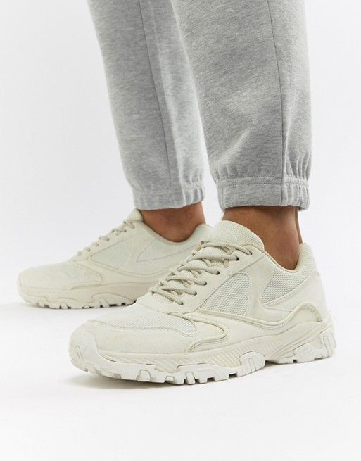 Sneakers In Tonal Off White With Chunky