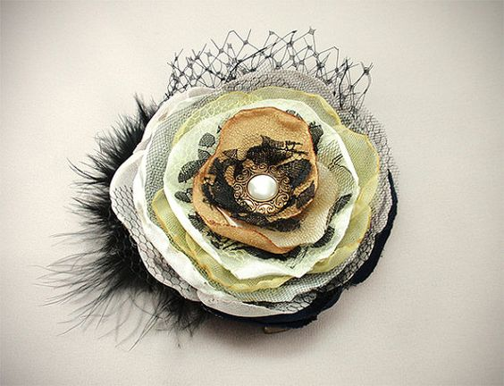 MultilayerFlower Brooch, Vintage Button, Feather, Net, Lace,Tulle, Chiffon, Satin, Organza, Gold, Blue, Black,Fascinator, Comb, Pin, Wedding