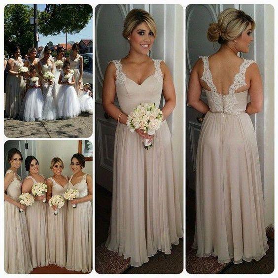 2016 Beach Country Bridesmaids Dresses Long A Line Chiffon Lace Straps Backless Bridesmaid Dress Sage Green Bridesmaid Dress Sangria Bridesmaid