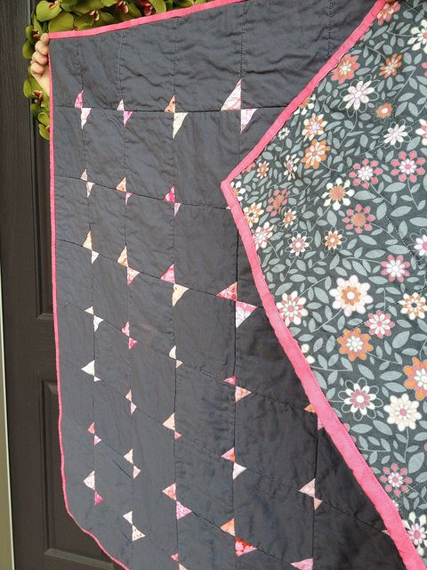 Modern bowtie/tiny butterfly pink & gray modern baby quilt .Based on filminthefridge's flying farfalle quilt.