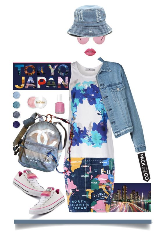 """""""Pack and Go Tokyo'"""" by dianefantasy ❤ liked on Polyvore featuring Love Moschino, adidas, Chanel, Terre Mère, Lime Crime, Oliver Peoples, Essie, Converse, tokyo and polyvoreeditorial"""