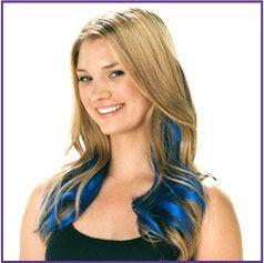 Model - Blonde, Blue Extension. Hannah wants blue hair.