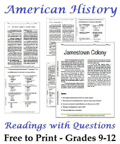 Printables Free Printable Worksheets For High School list of american history readings worksheets for high school students free to print