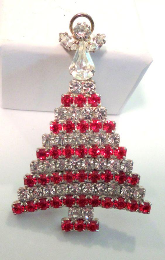 Vintage Christmas Tree Jeweled Brooch Pin New by SecondHandSadie, $15.00: