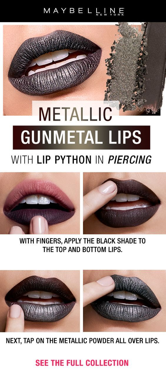 Gunmetal Lipstick With Just Two Easy Steps Metallic Lip Art Made Easy With New Lip Python Metallic Lip Kits These Kits F Metallic Lips Lip Art Makeup Lip Art