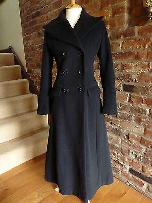 H &amp M Black Wool Cashmere Long Maxi Coat size 8 Vintage Victorian