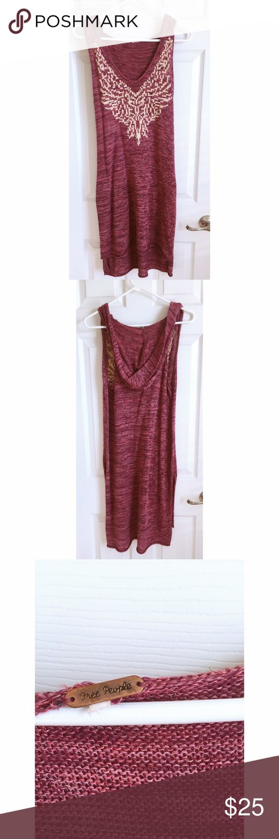 Free People Sleeveless-Hooded Tunic Free People Sleeveless-Hooded Tunic. Size small. Worn once. Has slits on bottom of each side & is meant to be worn over something and not as a dress. Free People Tops Tunics