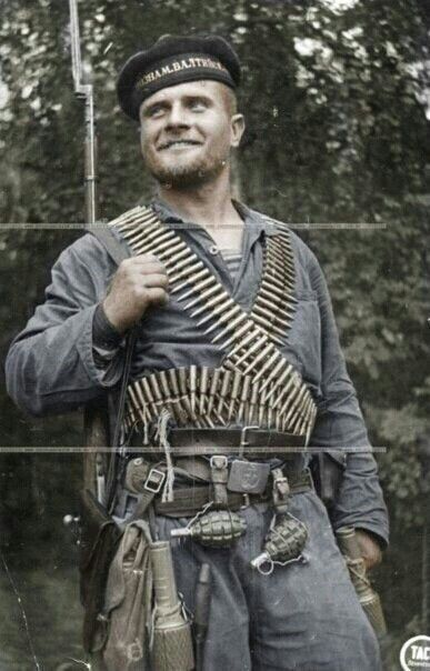 This picture is life for the soldiers because it shows a Russian marine in 1941. It caught my eye because he seems fairly happy, which is slightly odd
