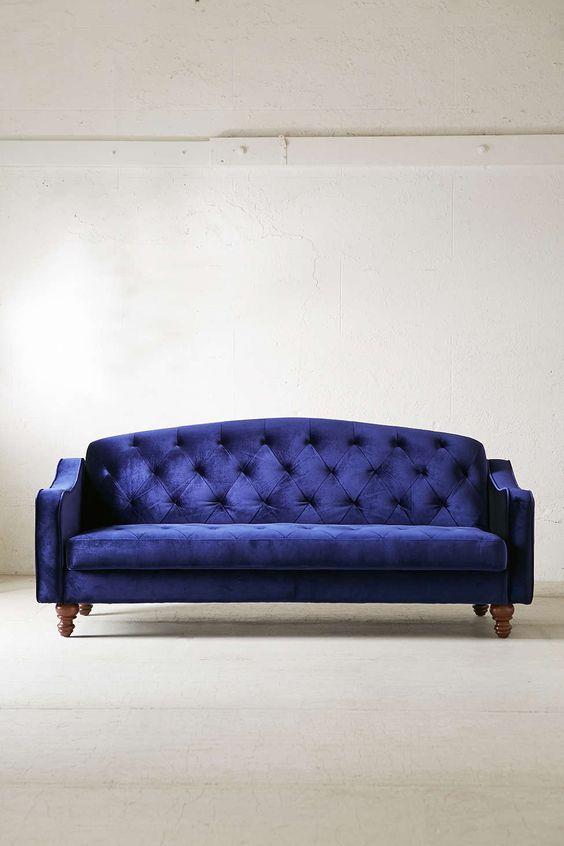 Velvet · Ava Velvet Tufted Sleeper Sofa ...