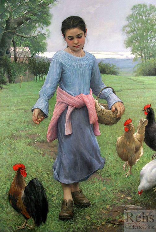 Girl Feeding Her Chickens - Allan R. Banks: